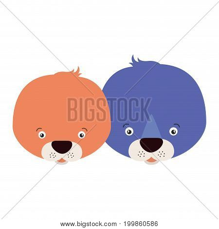 white background with colorful caricature face couple cute animal seals vector illustration