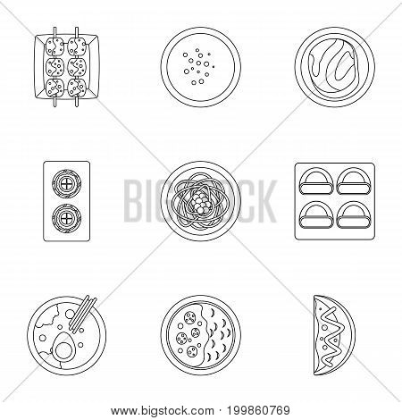 Japan food icons set. Outline set of 9 Japan food vector icons for web isolated on white background