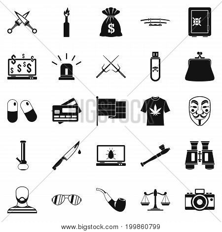 Wrongdoing icons set. Simple set of 25 wrongdoing vector icons for web isolated on white background