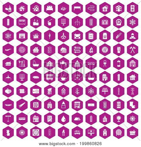 100 heating icons set in violet hexagon isolated vector illustration