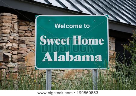 Welcome to Alabama Sign at visitor center on state line
