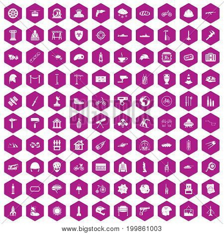100 helmet icons set in violet hexagon isolated vector illustration