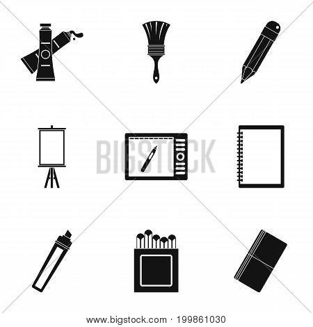 Designer equipment icons set. Simple set of 9 designer equipment vector icons for web isolated on white background