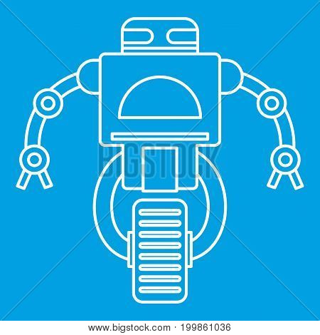 Robot on wheel icon blue outline style isolated vector illustration. Thin line sign