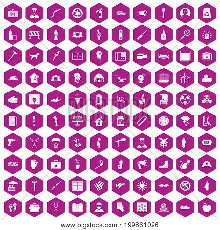 100 help icons set in violet hexagon isolated vector illustration