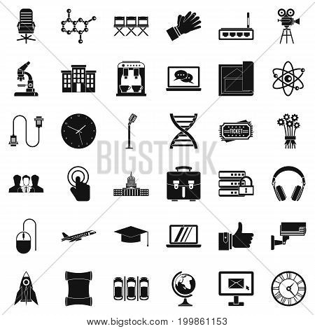 Conference icons set. Simple style of 36 conference vector icons for web isolated on white background