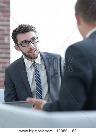 businessman talking to a business partner