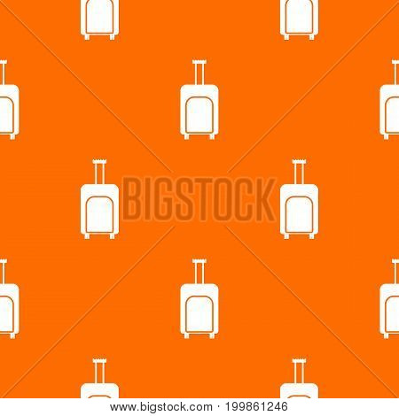 Travel suitcase pattern repeat seamless in orange color for any design. Vector geometric illustration