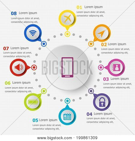 Infographic template with mobile phone icons, stock vector