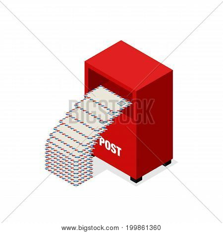 Mailbox letter flat design isometric isolated on white background vector illustration