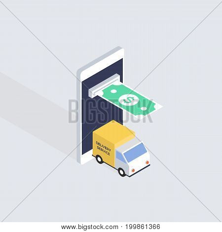 Mobile marketing business concept isometric flat design vector illustration