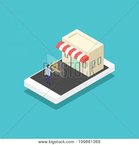 Mobile marketing e-commerce modern business concept flat design vector illustration