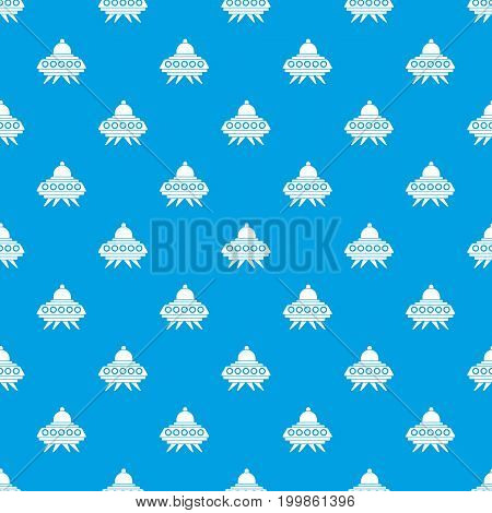 Alien spaceship pattern repeat seamless in blue color for any design. Vector geometric illustration