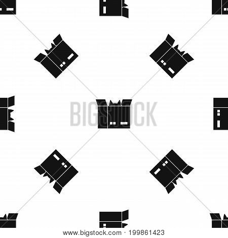 Cat in a cardboard box pattern repeat seamless in black color for any design. Vector geometric illustration