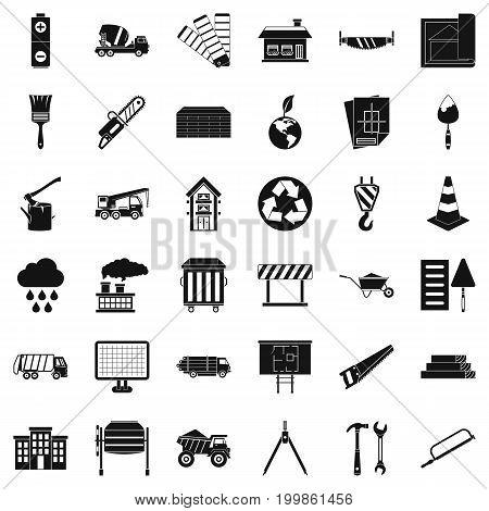 Construction site icons set. Simple style of 36 construction site vector icons for web isolated on white background