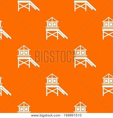 Wooden stilt house pattern repeat seamless in orange color for any design. Vector geometric illustration