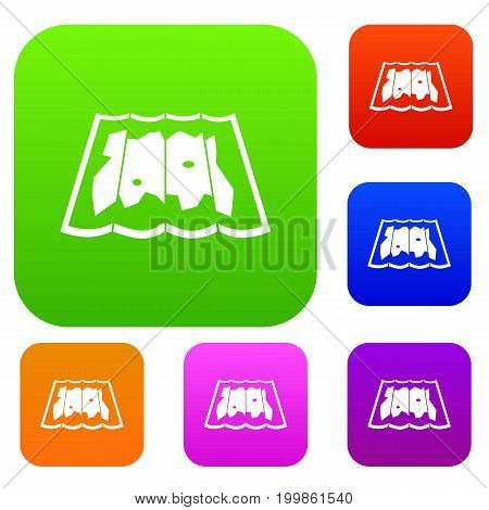 Map set icon in different colors isolated vector illustration. Premium collection