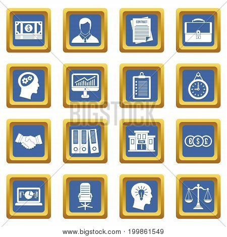 Banking icons set in blue color isolated vector illustration for web and any design