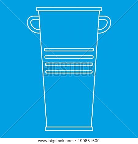 Garbage tank with handles icon blue outline style isolated vector illustration. Thin line sign