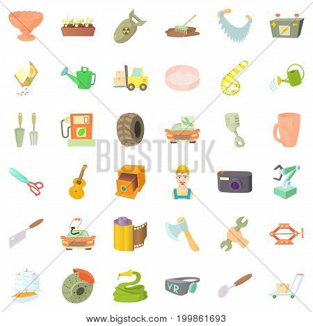 Craft icons set. Cartoon style of 36 craft vector icons for web isolated on white background