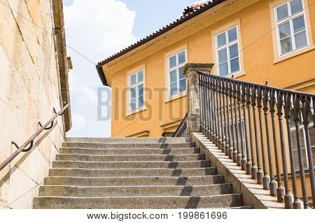 Front view of short stairs going up