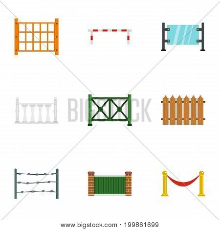 Different fence icons set. Flat set of 9 different fence vector icons for web isolated on white background