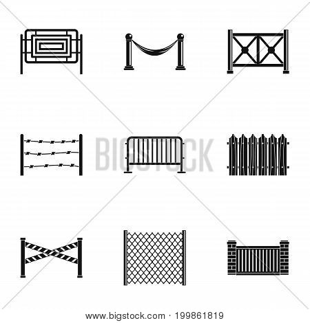 Different fence icons set. Simple set of 9 different fence vector icons for web isolated on white background