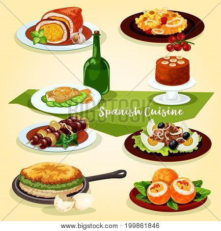 Spanish cuisine lunch with dessert cartoon icon. Seafood paella, tuna egg salad with olive, stuffed pork, grilled lamb, vegetable omelette, fried egg stuffed with sausage, banana pudding