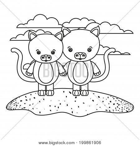 white background with silhouette scene couple cute cats animals in grass vector illustration
