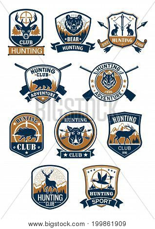 Hunting sport symbol and hunter club membership badge set. Deer, duck, boar, bear, wolf, elk, hare, hog wild animals with rifle, target sign and arrows, framed by heraldic shield and round seal