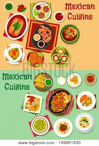 Mexican cuisine menu icon set. Meat vegetable taco, salsa and guacamole sauce, stuffed pepper, chicken tortilla roll, fajitas, bean and tomato soup, grilled beef, pasta with sausage, meat pie, cookie