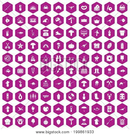 100 hobby icons set in violet hexagon isolated vector illustration