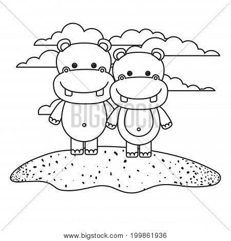 white background with silhouette scene couple cute hippopotamus animals in grass vector illustration