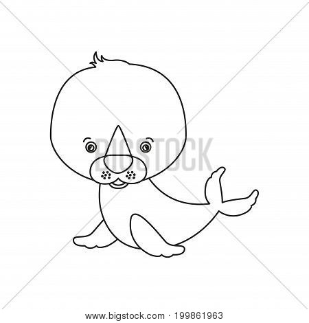 white background with silhouette caricature cute seal aquatic animal vector illustration