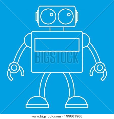 Retro robot icon blue outline style isolated vector illustration. Thin line sign