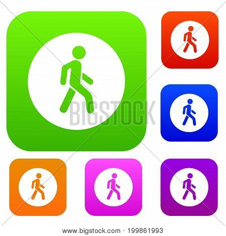 Pedestrians only road sign set icon in different colors isolated vector illustration. Premium collection