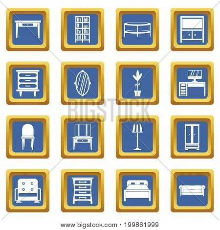 Furniture icons set in blue color isolated vector illustration for web and any design