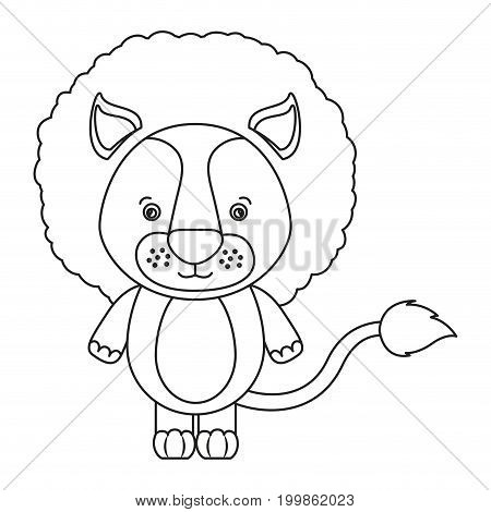 white background with silhouette caricature cute lion animal vector illustration
