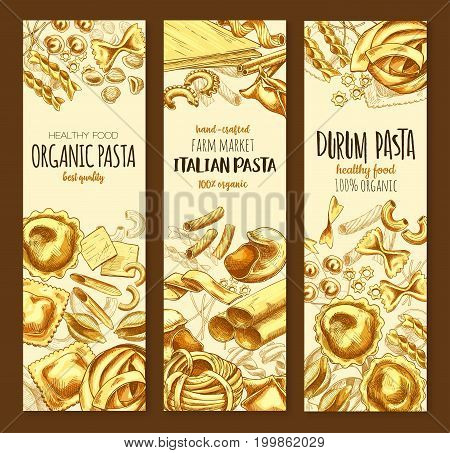 Italian pasta, organic durum spaghetti sketch banner set. Assortment shapes of italian cuisine pasta poster with penne, macaroni, farfalle, fusilli, rigatoni, ravioli, lasagna, noodle and conchiglie