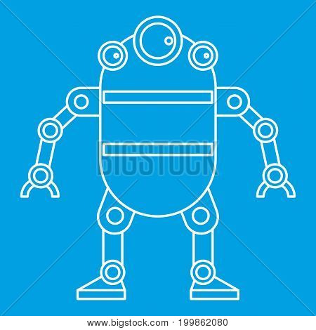 Cute robot icon blue outline style isolated vector illustration. Thin line sign