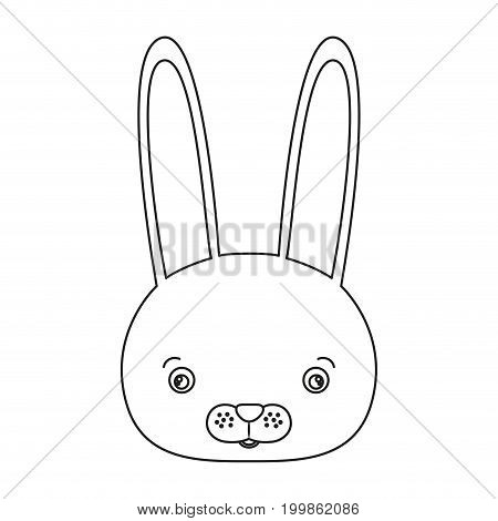 white background with silhouette caricature face rabbit cute animal vector illustration