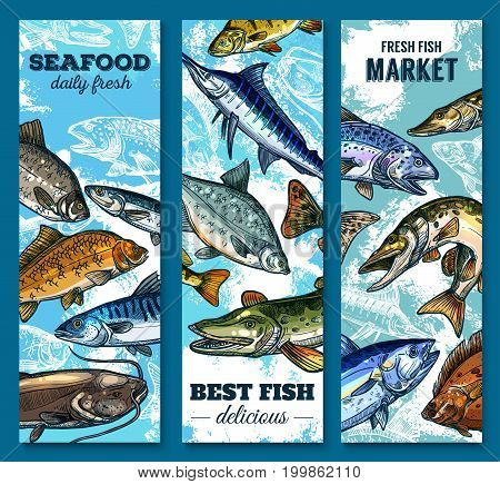 Fresh seafood and fish market banner set. Salmon, tuna, blue marlin, trout, pike, mackerel, flounder, catfish, perch and carp sketches. River and sea animal for fishing sport and fish market design