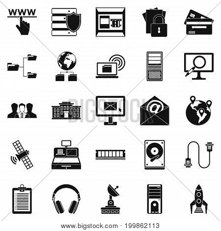 Hacker icons set. Simple set of 25 hacker vector icons for web isolated on white background