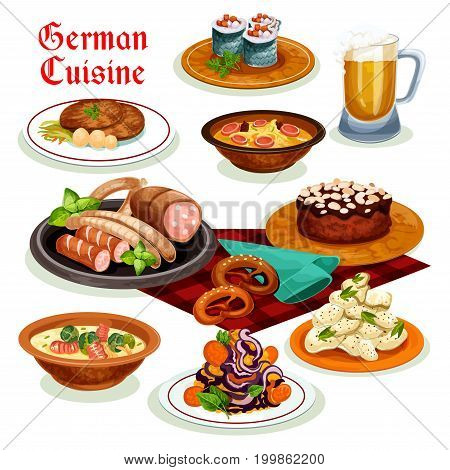German cuisine traditional beer, sausage and wurst icon, served with potato salad, bacon soup with pretzel, fish roll, pork schnitzel, noodle soup with brussel sprouts, chocolate cake with almond