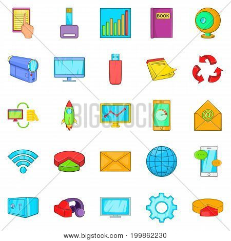 Flash drive icons set. Cartoon set of 25 flash drive vector icons for web isolated on white background