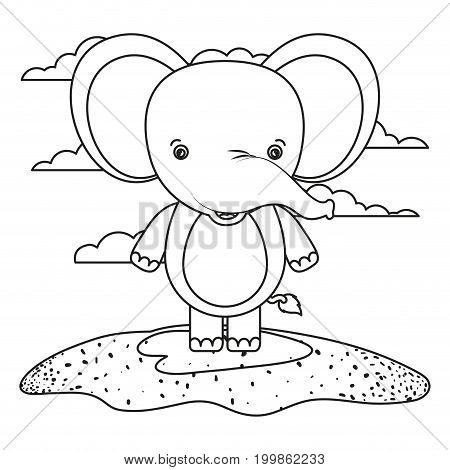 white background with silhouette scene cute elephant animal in grass vector illustration