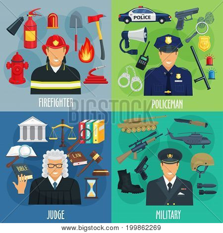 Profession icon set of policeman, firefighter, military and judge. Cartoon men in uniform with tool, equipment, weapon and justice symbols for emergency service and law occupation themes design