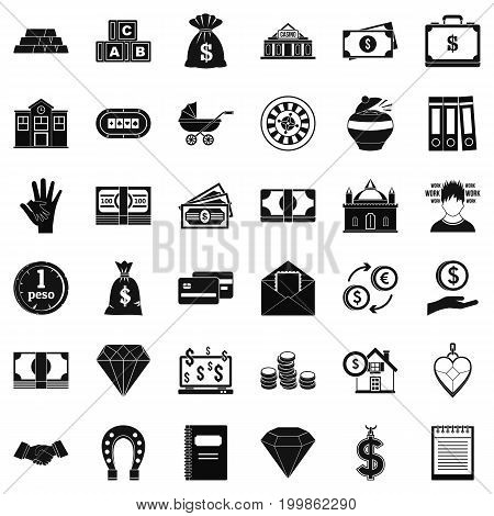 Deposit icons set. Simple style of 36 deposit vector icons for web isolated on white background