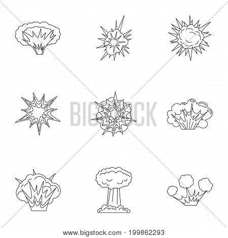 Game explosion icons set. Outline set of 9 parts vector icons for web isolated on white background
