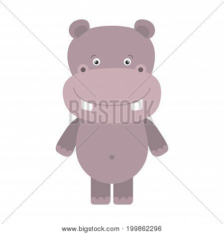 white background with colorful caricature cute hippopotamus animal vector illustration